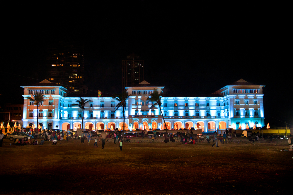 Galle Face Hotel at night on Galle Face Beach in Colombo, Sri Lanka